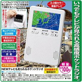 ファミリーライフ Family-life テレビも見られるポケットラジオ ホワイト 03735 [テレビ/AM/FM /ワイドFM対応][03735]