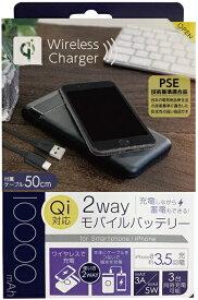 オズマ OSMA タブレット/スマートフォン対応Qi充電器機能付きモバイルバッテリー/PSE認証品/MAX3A・5W/ ブラック LUCQMM100-CCBK [10000mAh /2ポート /充電タイプ]