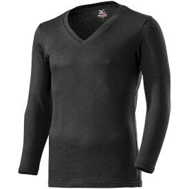 ミズノ メンズ ブレスサーモ BREATH THERMO アンダーウエアプラスVネック長袖シャツ(Mサイズ/ブラック) C2JA9641