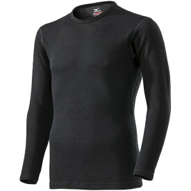 ミズノ mizuno メンズ ブレスサーモ BREATH THERMO アンダーウエアEXプラスクルーネック長袖シャツ(LLサイズ/ブラック) C2JA9614