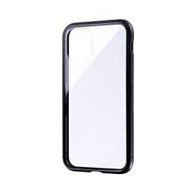 MSソリューションズ iPhone 11 Pro 5.8インチ SHELL GLASS Aluminum ガラスケース ブラック LP-IS19SGABK