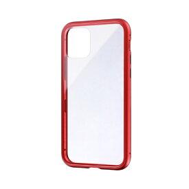 MSソリューションズ iPhone 11 Pro 5.8インチ SHELL GLASS Aluminum ガラスケース レッド LP-IS19SGARD