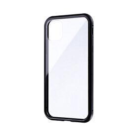 MSソリューションズ iPhone 11 6.1インチ SHELL GLASS Aluminum ガラスケース ブラック LP-IM19SGABK