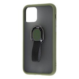 レイアウト rayout iPhone 11 Pro 5.8インチ 耐衝撃マットハイブリッド リング BABY SKIN/カーキ・GR RT-P23BS2/G