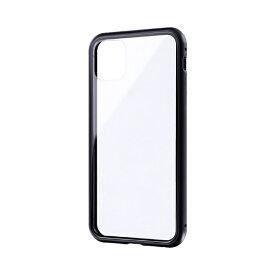 MSソリューションズ iPhone 11 Pro Max 6.5インチ SHELL GLASS Aluminum ガラスケース ブラック LP-IL19SGABK