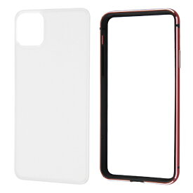 レイアウト rayout iPhone 11 Pro Max 6.5インチ アルミバンパー+背面パネル(クリア)/レッド RT-P22AB/RM
