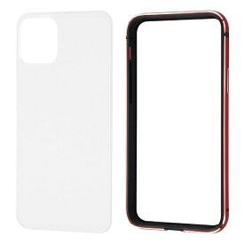 レイアウト rayout iPhone 11 Pro 5.8インチ アルミバンパー+背面パネル(クリア)/レッド RT-P23AB/RM