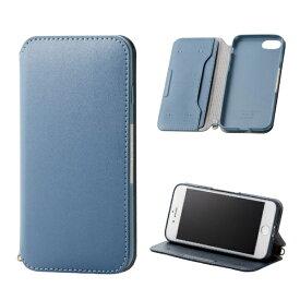 エレコム ELECOM iPhone8/7 (4.7) ソフトレザーケース 磁石付 ブルー HK-A17MPLFY2BU