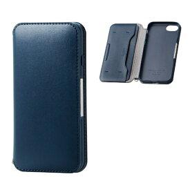 エレコム ELECOM iPhone8/7 (4.7) ソフトレザーケース 磁石付 ネイビー HK-A17MPLFY2NV