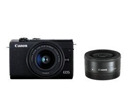 キヤノン CANON EOS M200 ミラーレス一眼カメラ ダブルレンズキット ブラック [ズームレンズ+単焦点レンズ][EOSM200BKWLK]【point_rb】