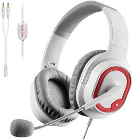 エレコム ELECOM HS-G30WH ゲーミングヘッドセット ホワイト [φ3.5mmミニプラグ /両耳 /ヘッドバンドタイプ][HSG30WH]
