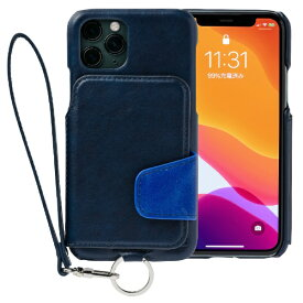 トーモ toomo RAKUNI Soft Leather Case for iPhone 11 Pro rak-19ips-pnvy ネイビーブルー