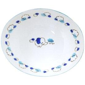アサヒコウヨウ 子供カレー・パスタ皿 もぐもぐ ゾウ KD309-BL ブルー[KD309]