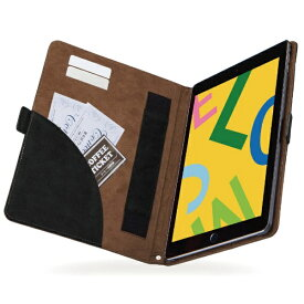 エレコム ELECOM iPad 10.2(第7/第8世代対応) ソフトレザー フリーアングル TB-A19RPLFDTBK ブラック×ブラウン