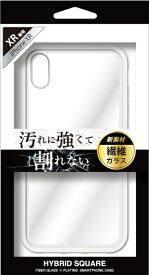 ナチュラルデザイン NATURAL design iPhoneXR専用背面型繊維ガラスケース HYBRID SQUARE Clear