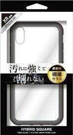 ナチュラルデザイン NATURAL design iPhoneXR専用背面型繊維ガラスケース HYBRID SQUARE Clear Black