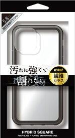 ナチュラルデザイン NATURAL design iPhone 11 Pro 5.8インチ専用背面型繊維ガラスケース HYBRID SQUARE Clear Black iP19_58-HYS02