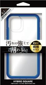 ナチュラルデザイン NATURAL design iPhone 11 6.1インチ 専用背面型繊維ガラスケース HYBRID SQUARE Clear Blue iP19_61-HYS03