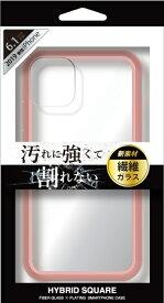 ナチュラルデザイン NATURAL design iPhone 11 6.1インチ 専用背面型繊維ガラスケース HYBRID SQUARE Clear Pink iP19_61-HYS04