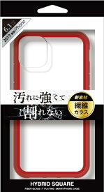 ナチュラルデザイン NATURAL design iPhone 11 6.1インチ 専用背面型繊維ガラスケース HYBRID SQUARE Clear Red iP19_61-HYS05