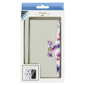 ナチュラルデザイン NATURAL design iPhone 11 6.1インチ 専用手帳型ケース Bouquet Gray iP19_61-BQ02