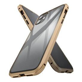 イングレム Ingrem iPhone 11 アルミ×ガラス マグネットケース/ゴールド IS-P21AG1/CG ゴールド