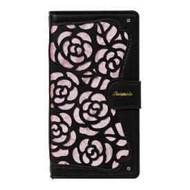 ナチュラルデザイン NATURAL design マルチタイプ 手帳型ケース La Roseraie Black x Pink ML-Rose05