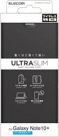 エレコム ELECOM Galaxy Note10+ ソフトレザーケース 薄型 磁石付 ブラック PM-GN10PPLFUBK