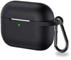 アイキューラボ iQ Labo Airpods Pro用 カラビナ付きシリコンケース ブラック[airpods pro ケース カバー]