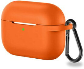 アイキューラボ iQ Labo Airpods Pro用 カラビナ付きシリコンケース オレンジ[airpods pro ケース カバー]