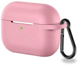 アイキューラボ iQ Labo Airpods Pro用 カラビナ付きシリコンケース ピンク[airpods pro ケース カバー]