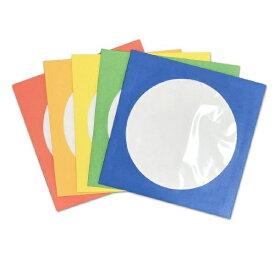 イーサプライズ e-supplies 100枚収納 DVD/CDペーパースリーブケース 窓付きタイプ カラーMIX(100枚:5色×各20枚) ESPSC100CA 5色アソート(青・緑・黄・橙・赤)[ESPSC100CA]