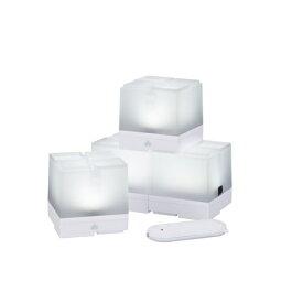 ロゴス LOGOS リモコンブロックライト【4pcs】(幅8×奥行8×高さ8cm/LED) 74175011