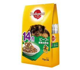 マースジャパンリミテッド Mars Japan Limited ペディグリー 14歳から用 ビーフ&緑黄色野菜 70g×3袋
