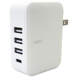 リーダーメディアテクノ Leader Media Techno AC充電器4口 4.8A (USB3+TypeC1) L-AC4.8W ホワイト
