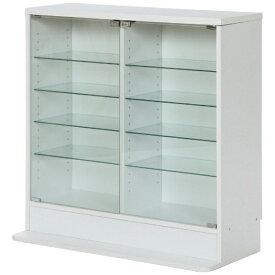 不二貿易 Fuji Boeki ガラスコレクションケース 5段 ロータイプ 浅型 ホワイト(高さ90cm)