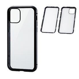 エレコム ELECOM iPhone 11 Pro ハイブリッドケース ガラス アルミ 360度保護 ブラック PM-A19BHVCGFCBK