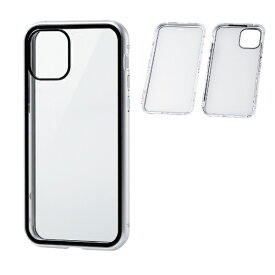 エレコム ELECOM iPhone 11 Pro ハイブリッドケース ガラス アルミ 360度保護 シルバー PM-A19BHVCGFCSV