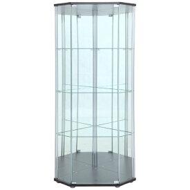 不二貿易 Fuji Boeki ガラスコレクションケース 4段(背面ミラー付き) コーナータイプ ブラウン(高さ162cm)