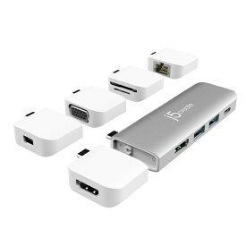 j5 create ジェイファイブクリエイト MacBook Pro/Air用[USB-C オス→メス HDMI / USB-Ax2 / USB-C / USB-C(充電)+カードスロットx2 / HDMI / VGA / mini DisplayPort / LAN] ミニドック スペースグレイ JCD389 [USB Power Delivery対応][JCD389]
