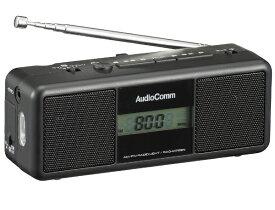 オーム電機 OHM ELECTRIC RAD-M799N 手回しラジオライト ブラック [AM/FM /ワイドFM対応]