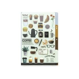 デザインフィル DESIGNPHIL 3ポケットクリアホルダー<A6>コーヒー柄