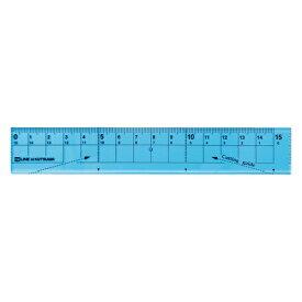 クツワ KUTSUWA 紙が切れる透明定規15cmブルー XS01BL