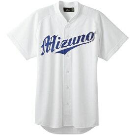 ミズノ mizuno 野球 ユニフォームシャツ オープンタイプ 小衿付(2XOサイズ/ホワイト) 12JC6F41