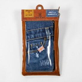 BSJ UK Trident iPhone11 Jeansモデル 手帳型ケース UK Trident PSPC-IP1161-VB19a