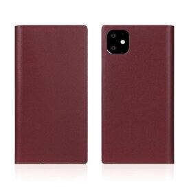 ROA ロア iPhone11 Calf Skin Leather Diary Burgundy
