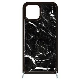 藤家 Fujiya iPhone11 VESTI 着せ替えセット(ガラスハイブリッドカバー+TPUケース) D.マーブル_ブラック VESTI