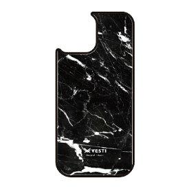 藤家 Fujiya iPhone11 VESTI 着せ替え用背面カバー(ガラスハイブリッド) D.マーブル_ブラック VESTI