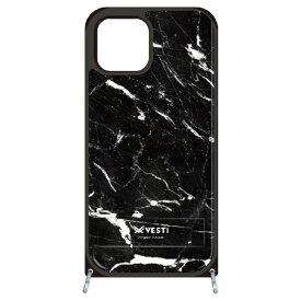 藤家 Fujiya iPhone11 VESTI 着せ替えセット(PCハードカバー+TPUケース) D.マーブル_ブラック VESTI