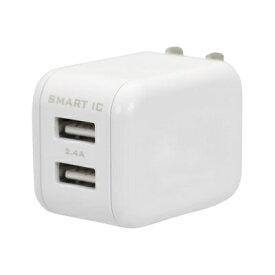 OWLTECH オウルテック スマートIC搭載 急速充電2.4A出力対応AC充電器 ホワイト OWL-ACU2F24S2-WH [2ポート /Smart IC対応]